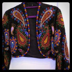 Jackets & Blazers - Gorgeous beaded vintage bolero cropped jacket